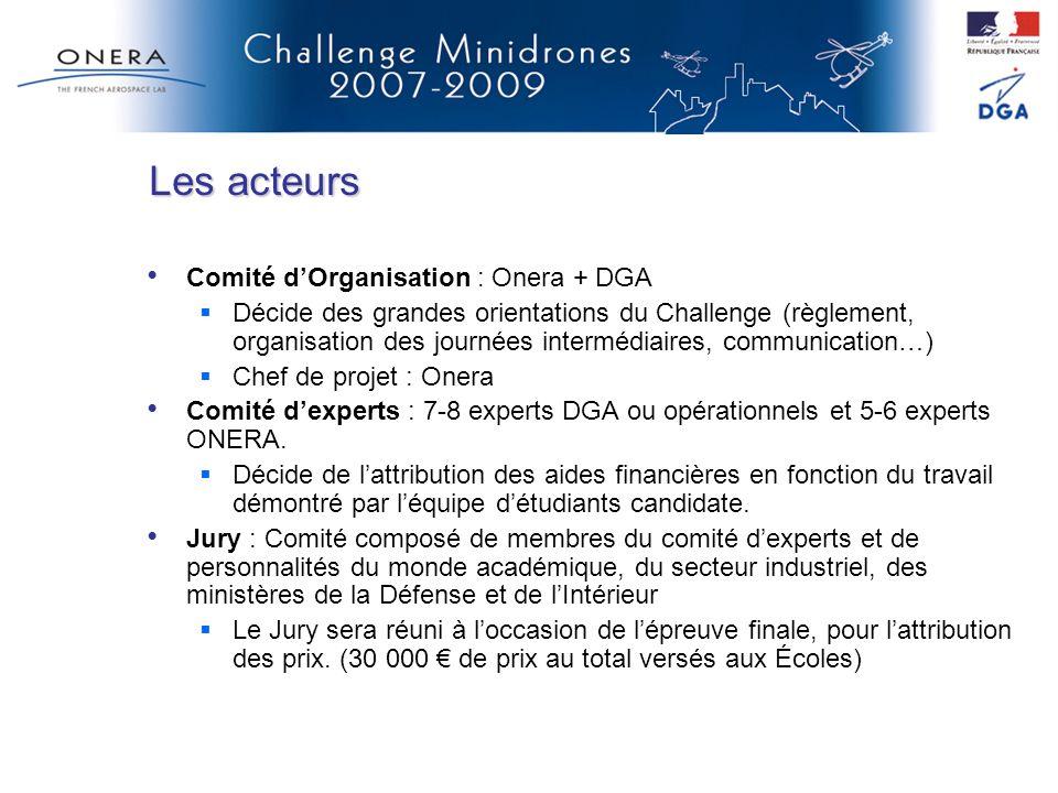 Comité dOrganisation : Onera + DGA Décide des grandes orientations du Challenge (règlement, organisation des journées intermédiaires, communication…)