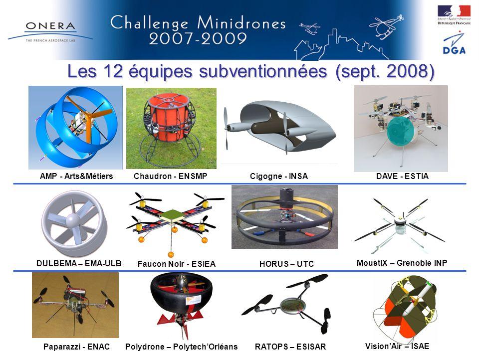Les 12 équipes subventionnées (sept. 2008) AMP - Arts&MétiersChaudron - ENSMPCigogne - INSADAVE - ESTIA DULBEMA – EMA-ULB Faucon Noir - ESIEAHORUS – U