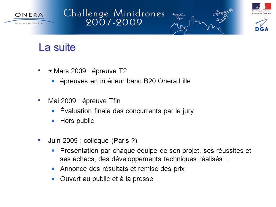 La suite Mars 2009 : épreuve T2 épreuves en intérieur banc B20 Onera Lille Mai 2009 : épreuve Tfin Évaluation finale des concurrents par le jury Hors