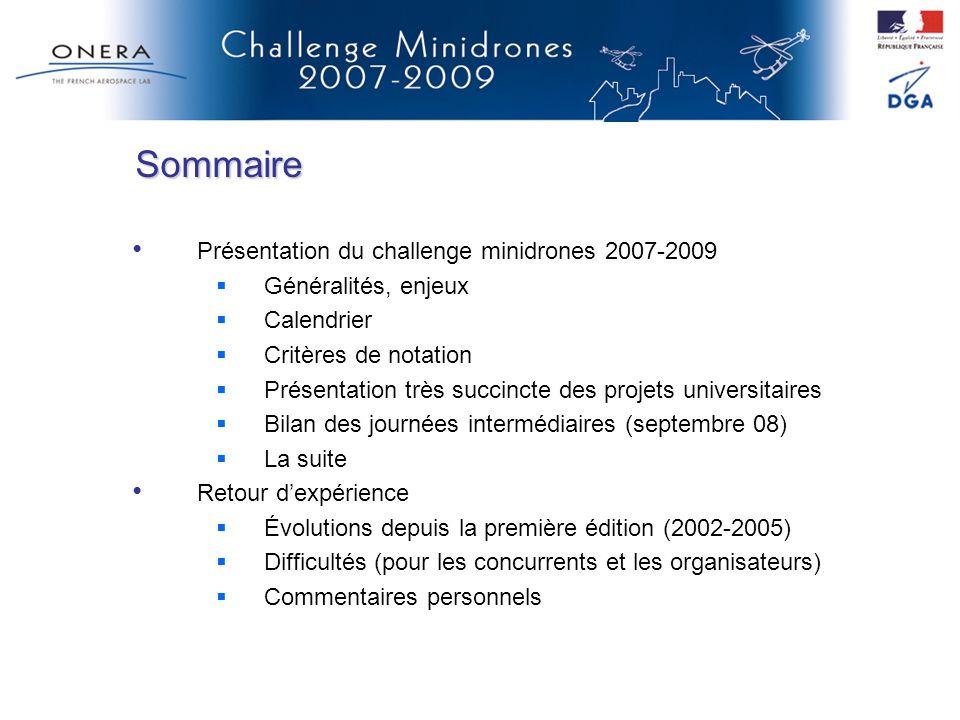 Sommaire Présentation du challenge minidrones 2007-2009 Généralités, enjeux Calendrier Critères de notation Présentation très succincte des projets un