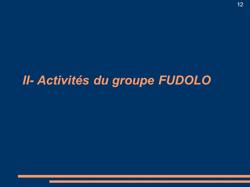12 II- Activités du groupe FUDOLO