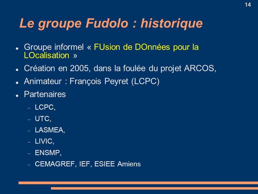 14 Le groupe Fudolo : historique Groupe informel « FUsion de DOnnées pour la LOcalisation » Création en 2005, dans la foulée du projet ARCOS, Animateu