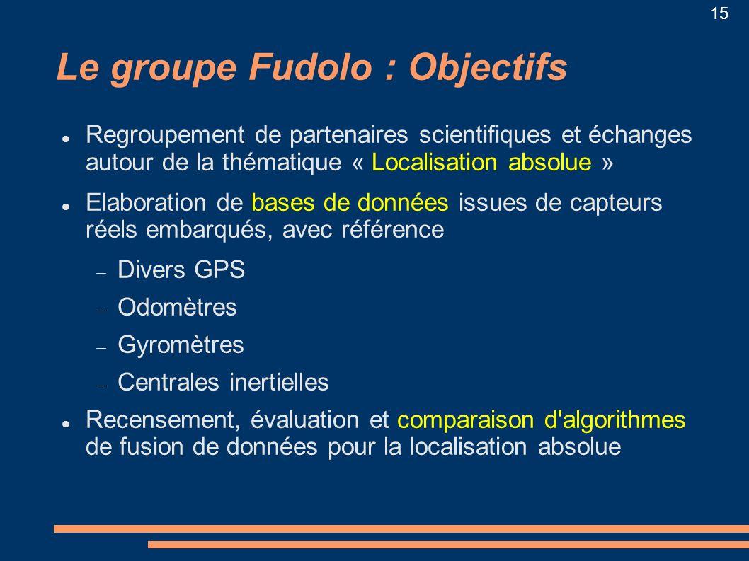 15 Le groupe Fudolo : Objectifs Regroupement de partenaires scientifiques et échanges autour de la thématique « Localisation absolue » Elaboration de