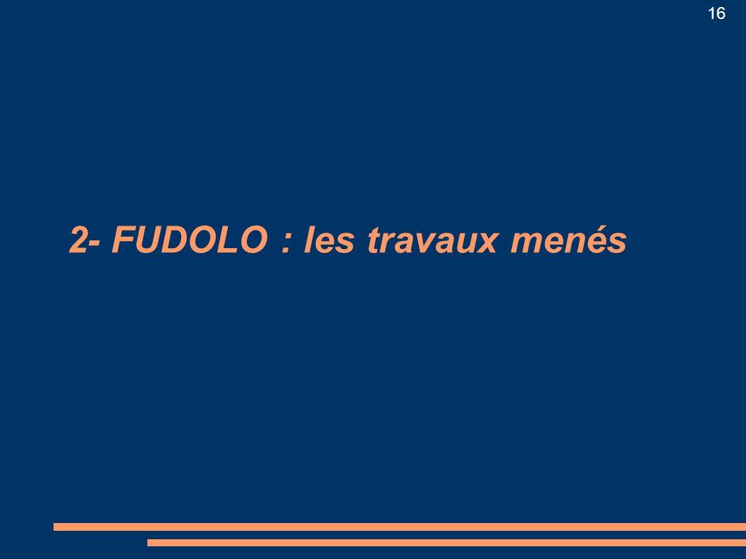16 2- FUDOLO : les travaux menés