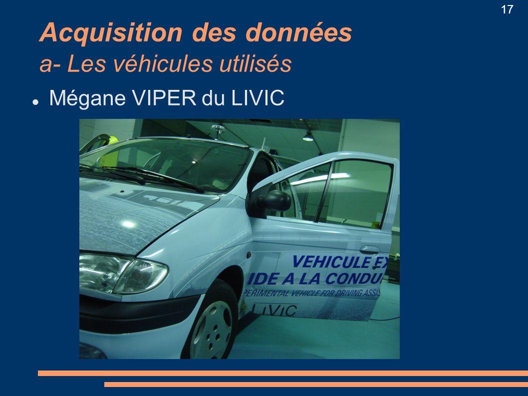 17 Acquisition des données a- Les véhicules utilisés Mégane VIPER du LIVIC
