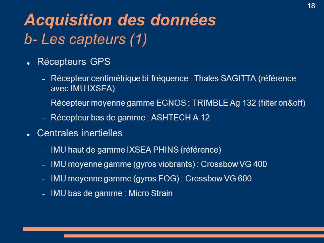 18 Acquisition des données b- Les capteurs (1) Récepteurs GPS Récepteur centimétrique bi-fréquence : Thales SAGITTA (référence avec IMU IXSEA) Récepte
