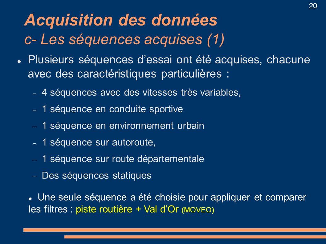 20 Acquisition des données c- Les séquences acquises (1) Plusieurs séquences dessai ont été acquises, chacune avec des caractéristiques particulières