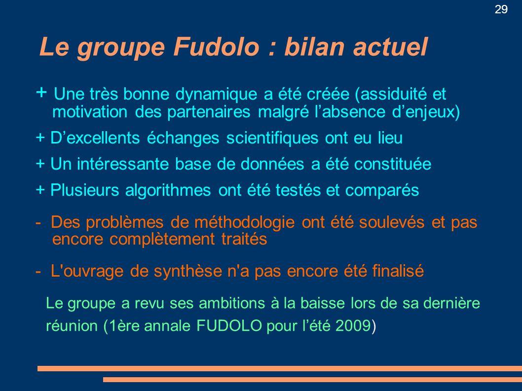 29 Le groupe Fudolo : bilan actuel + Une très bonne dynamique a été créée (assiduité et motivation des partenaires malgré labsence denjeux) + Dexcelle