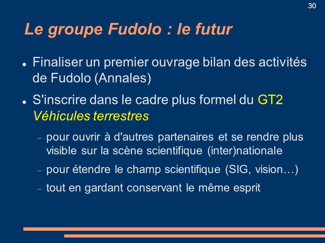 30 Le groupe Fudolo : le futur Finaliser un premier ouvrage bilan des activités de Fudolo (Annales) S'inscrire dans le cadre plus formel du GT2 Véhicu