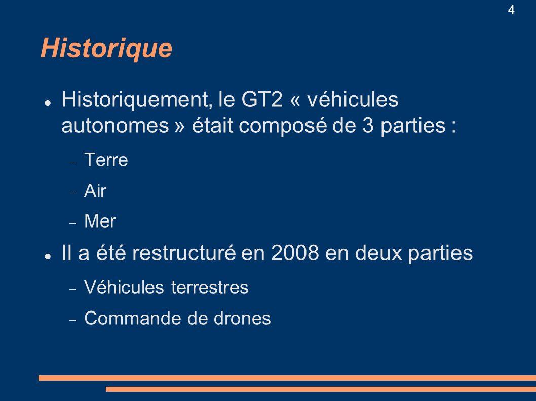 4 Historique Historiquement, le GT2 « véhicules autonomes » était composé de 3 parties : Terre Air Mer Il a été restructuré en 2008 en deux parties Vé