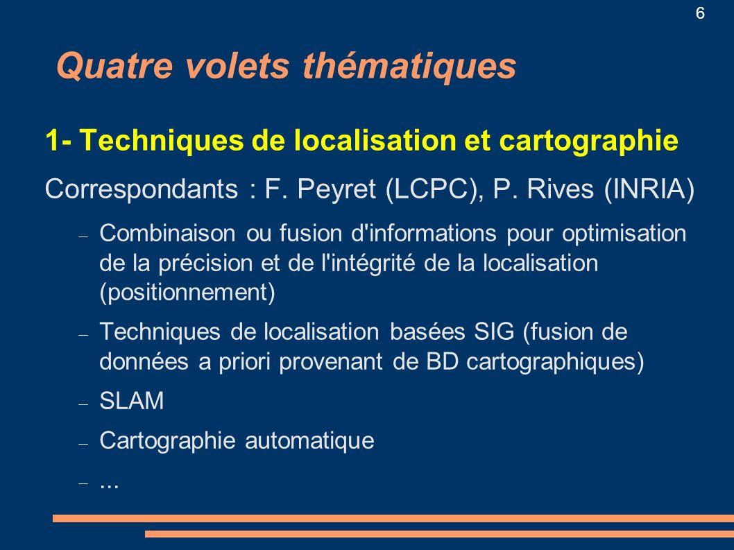 6 1- Techniques de localisation et cartographie Correspondants : F. Peyret (LCPC), P. Rives (INRIA) Combinaison ou fusion d'informations pour optimisa
