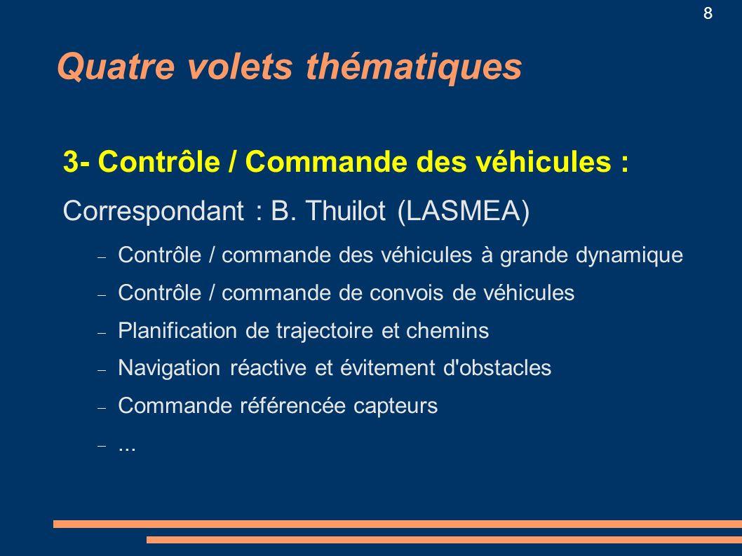 8 Quatre volets thématiques 3- Contrôle / Commande des véhicules : Correspondant : B. Thuilot (LASMEA) Contrôle / commande des véhicules à grande dyna