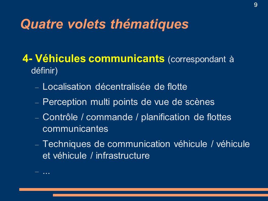 9 Quatre volets thématiques 4- Véhicules communicants (correspondant à définir) Localisation décentralisée de flotte Perception multi points de vue de