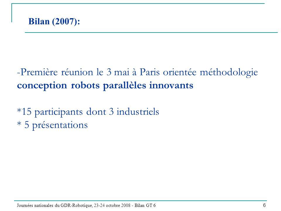 Journées nationales du GDR-Robotique, 23-24 octobre 2008 - Bilan GT 6 6 -Première réunion le 3 mai à Paris orientée méthodologie conception robots parallèles innovants *15 participants dont 3 industriels * 5 présentations Bilan (2007):