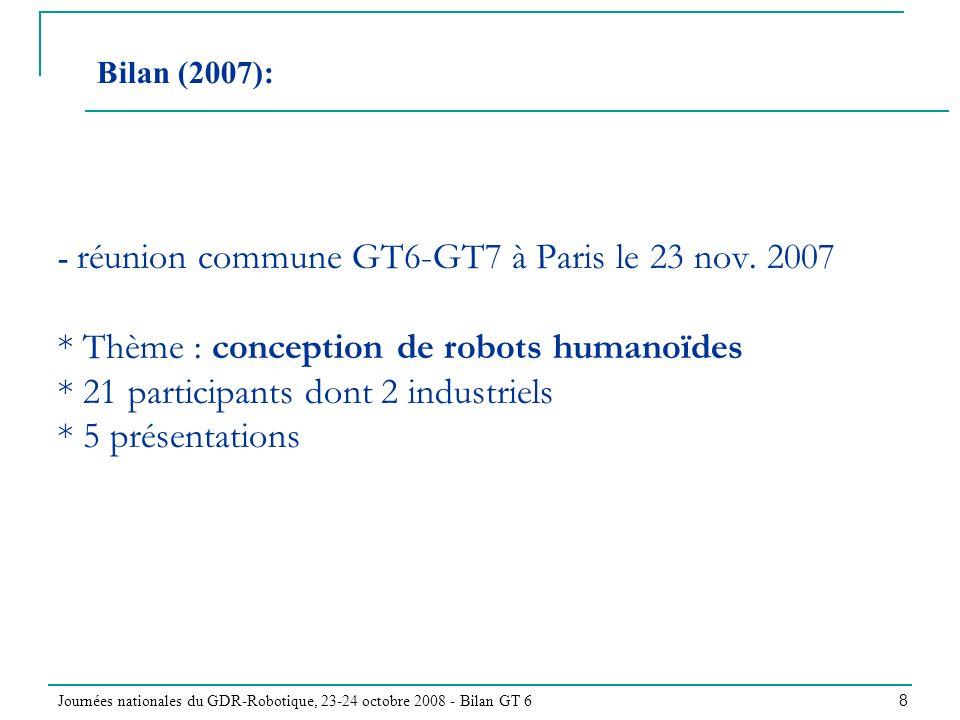 Journées nationales du GDR-Robotique, 23-24 octobre 2008 - Bilan GT 6 8 - réunion commune GT6-GT7 à Paris le 23 nov. 2007 * Thème : conception de robo