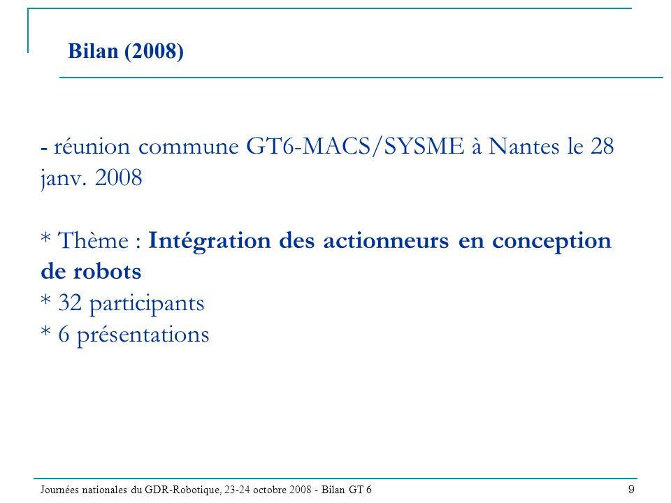 Journées nationales du GDR-Robotique, 23-24 octobre 2008 - Bilan GT 6 9 - réunion commune GT6-MACS/SYSME à Nantes le 28 janv. 2008 * Thème : Intégrati