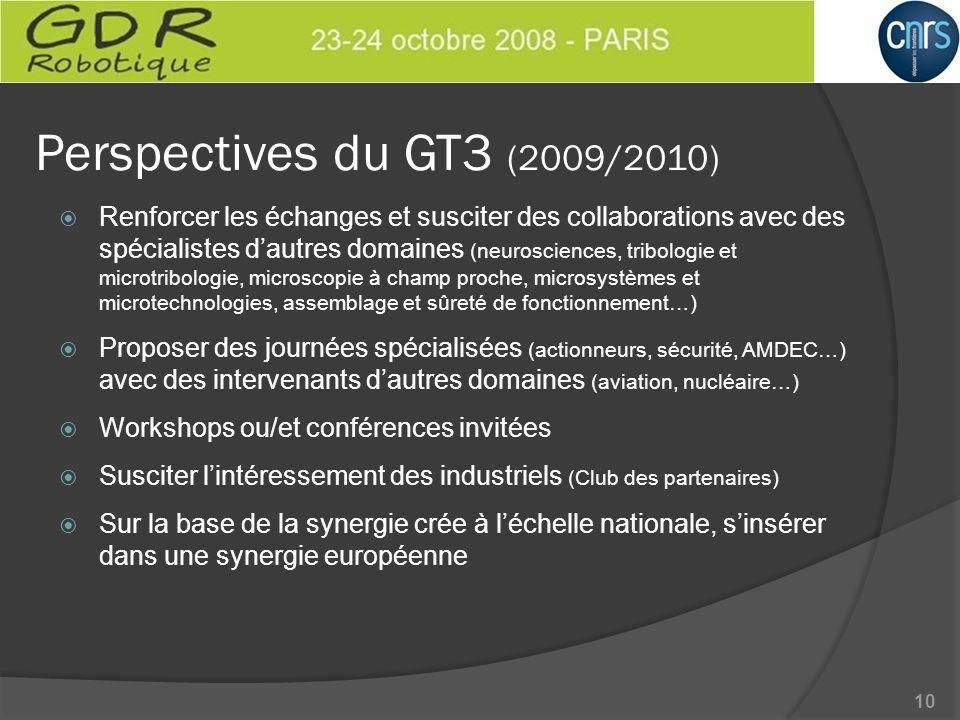 Perspectives du GT3 (2009/2010) Renforcer les échanges et susciter des collaborations avec des spécialistes dautres domaines (neurosciences, tribologi