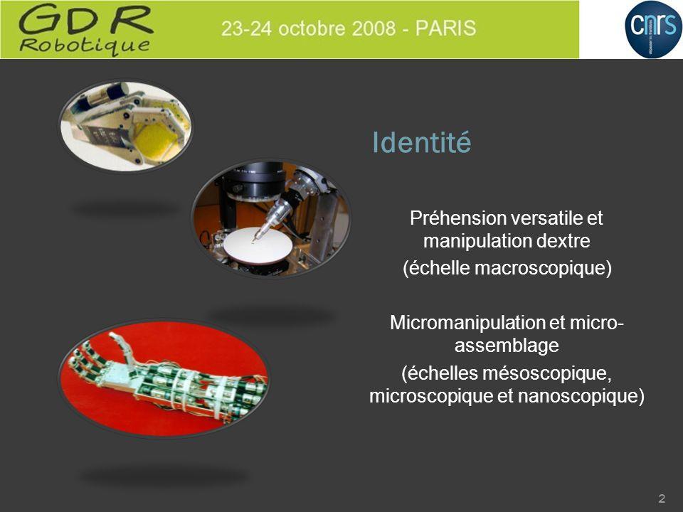 Identité Préhension versatile et manipulation dextre (échelle macroscopique) Micromanipulation et micro- assemblage (échelles mésoscopique, microscopi