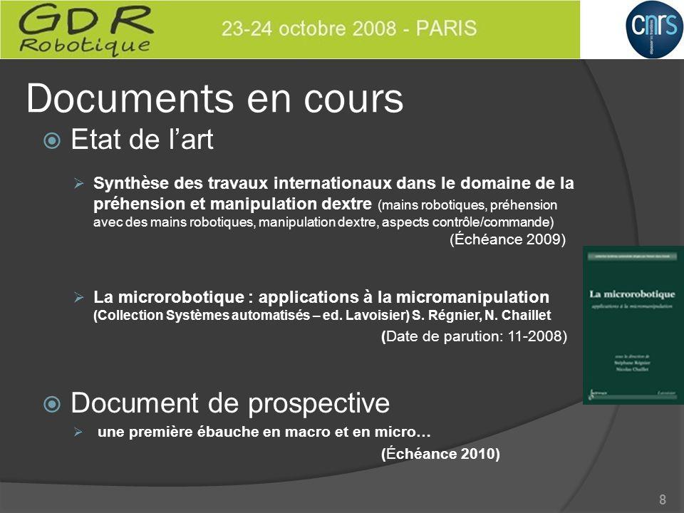 Documents en cours Etat de lart Synthèse des travaux internationaux dans le domaine de la préhension et manipulation dextre (mains robotiques, préhens