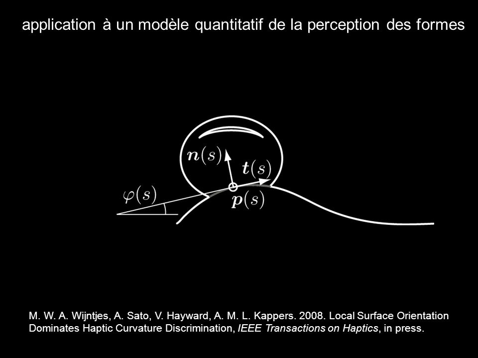 application à un modèle quantitatif de la perception des formes M.