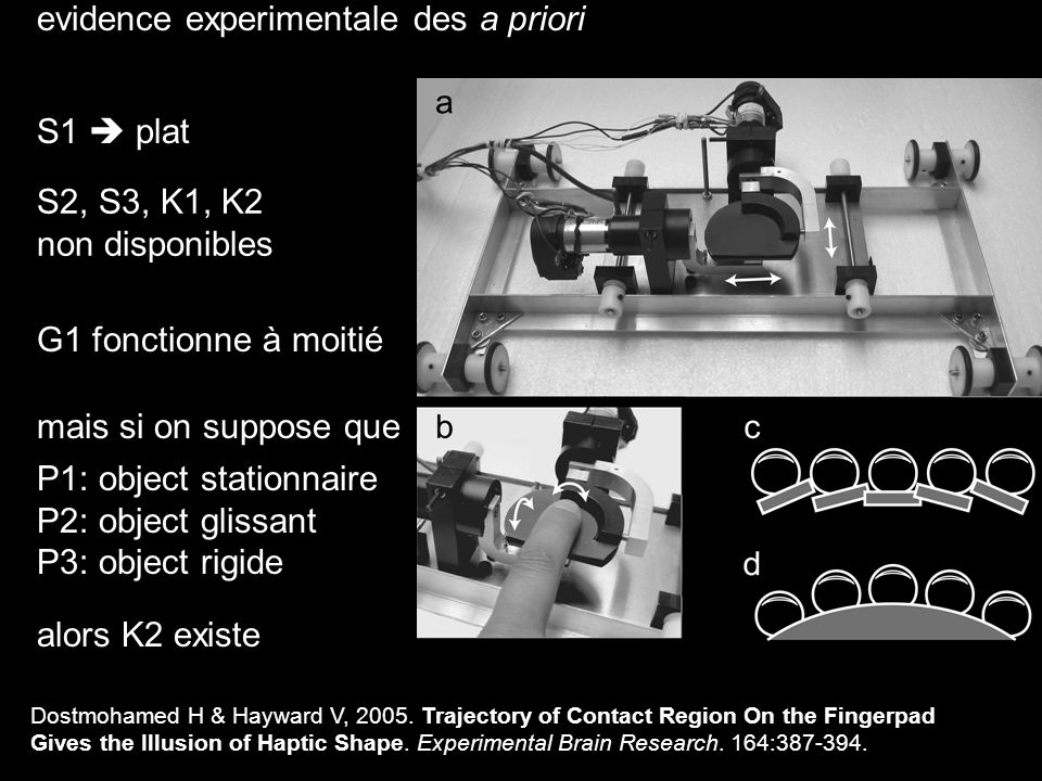 evidence experimentale des a priori S2, S3, K1, K2 non disponibles S1 plat G1 non disponible mais si on suppose que P1: object stationnaire P2: object glissant P3: object rigide P4: friction uniforme Robles-De-La-Torre, G & Hayward, V.