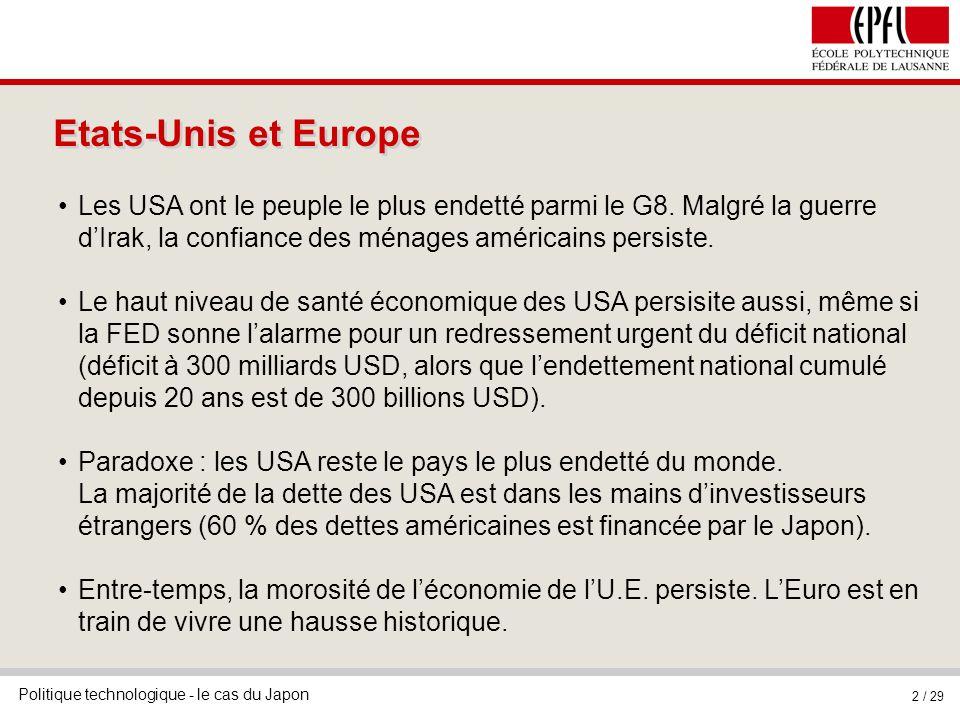 Politique technologique - le cas du Japon 2 / 29 Etats-Unis et Europe Les USA ont le peuple le plus endetté parmi le G8.