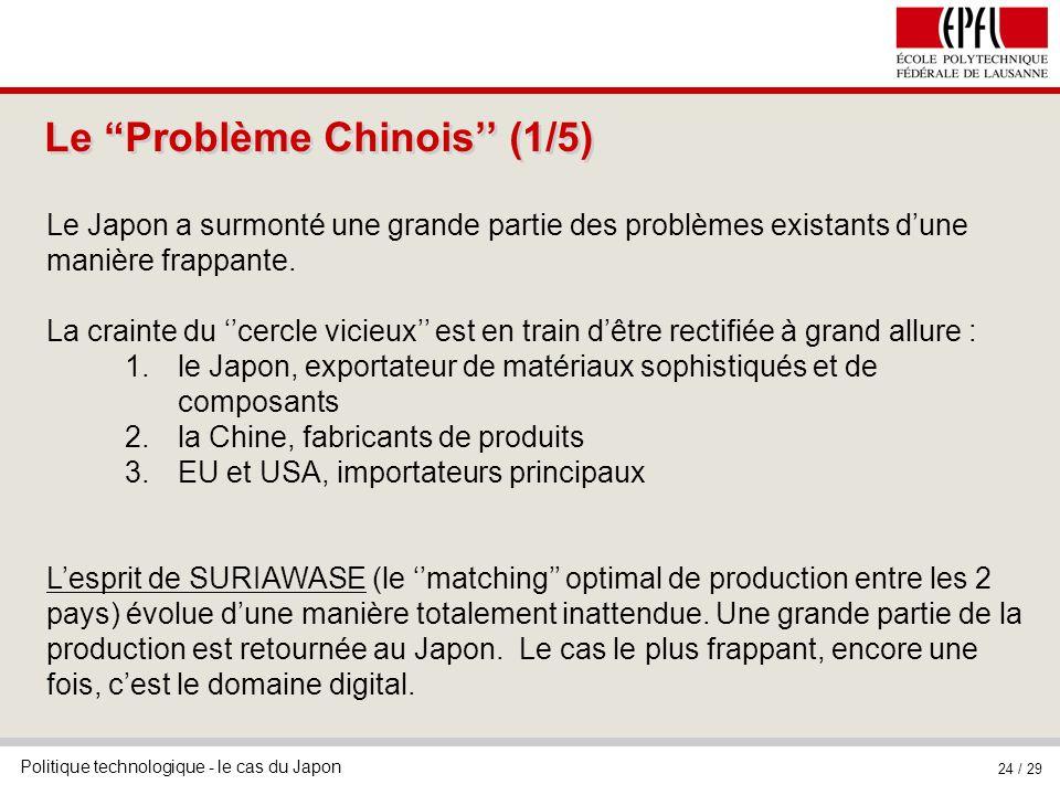 Politique technologique - le cas du Japon 24 / 29 Le Problème Chinois (1/5) Le Japon a surmonté une grande partie des problèmes existants dune manière frappante.