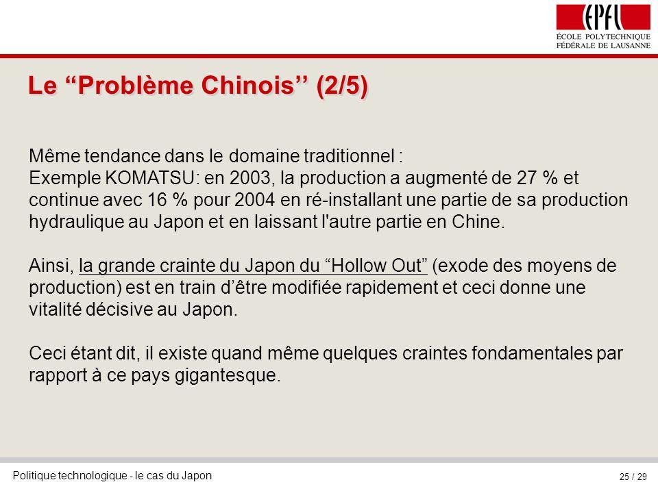 Politique technologique - le cas du Japon 25 / 29 Le Problème Chinois (2/5) Même tendance dans le domaine traditionnel : Exemple KOMATSU: en 2003, la production a augmenté de 27 % et continue avec 16 % pour 2004 en ré-installant une partie de sa production hydraulique au Japon et en laissant l autre partie en Chine.