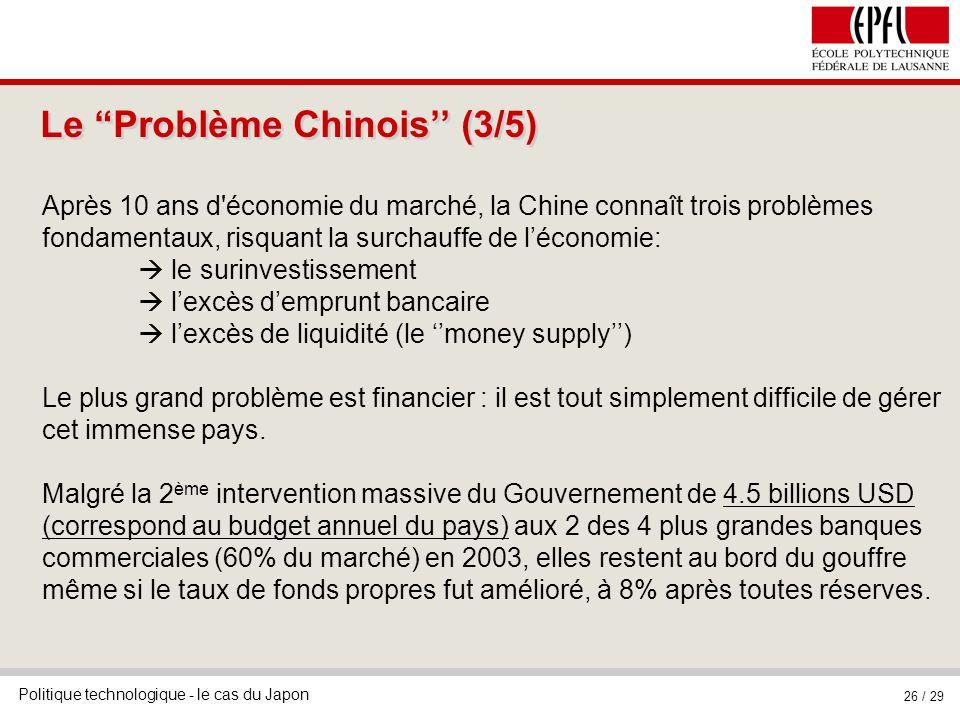 Politique technologique - le cas du Japon 26 / 29 Le Problème Chinois (3/5) Après 10 ans d économie du marché, la Chine connaît trois problèmes fondamentaux, risquant la surchauffe de léconomie: le surinvestissement lexcès demprunt bancaire lexcès de liquidité (le money supply) Le plus grand problème est financier : il est tout simplement difficile de gérer cet immense pays.