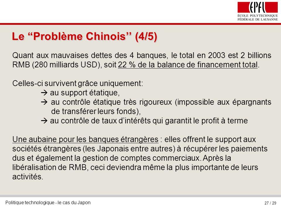 Politique technologique - le cas du Japon 27 / 29 Le Problème Chinois (4/5) Quant aux mauvaises dettes des 4 banques, le total en 2003 est 2 billions RMB (280 milliards USD), soit 22 % de la balance de financement total.