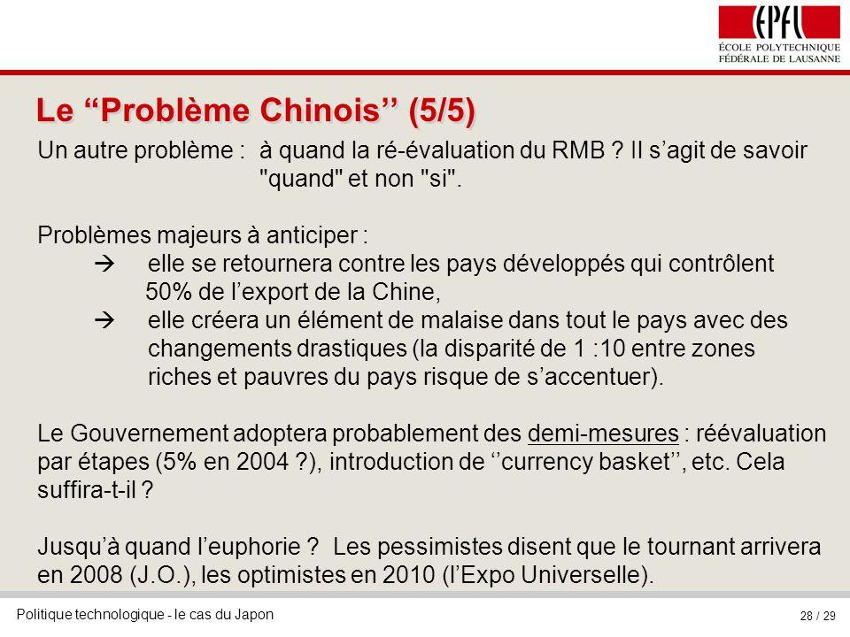Politique technologique - le cas du Japon 28 / 29 Le Problème Chinois (5/5) Un autre problème : à quand la ré-évaluation du RMB ? Il sagit de savoir