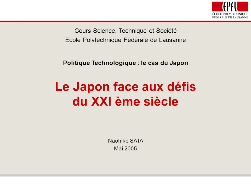 Politique technologique - le cas du Japon 22 / 31 Le Problème Chinois (2) On aperçoit le même tendance dans le domaine traditionnel : par exemple, le leader des machines de construction KOMATSU a augmenté sa production de 27% en 2003, ainsi que 16% pour 2004, en rapatriant la partie principale de sa production hydraulique au Japon et en laissant le reste en Chine.