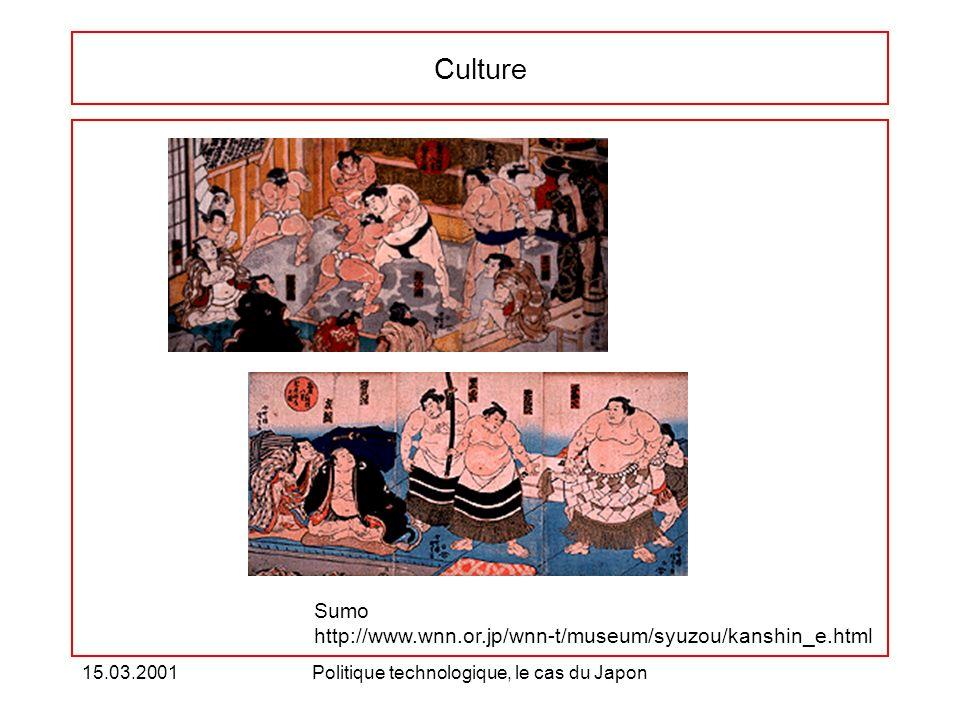 15.03.2001Politique technologique, le cas du Japon Culture Sumo http://www.wnn.or.jp/wnn-t/museum/syuzou/kanshin_e.html