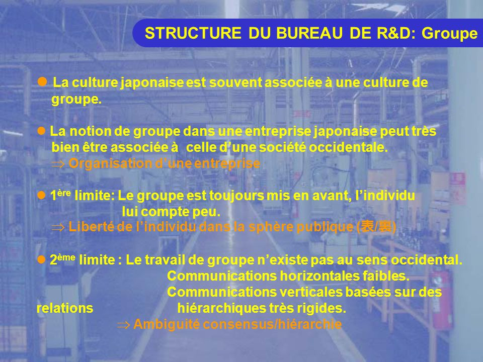 STRUCTURE DU BUREAU DE R&D: Hiérarchie Le Japon est souvent qualifié de très efficace pour la mise en oeuvre dun projet (soutien de lensemble des employés).