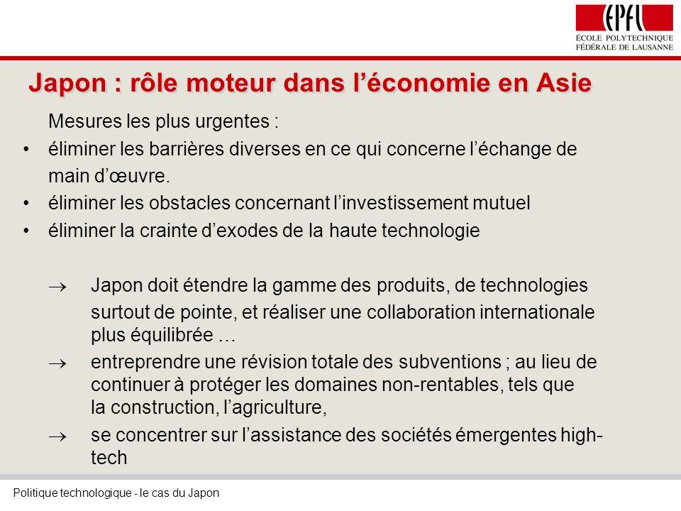 Politique technologique - le cas du Japon Japon : rôle moteur dans léconomie en Asie Mesures les plus urgentes : éliminer les barrières diverses en ce qui concerne léchange de main dœuvre.
