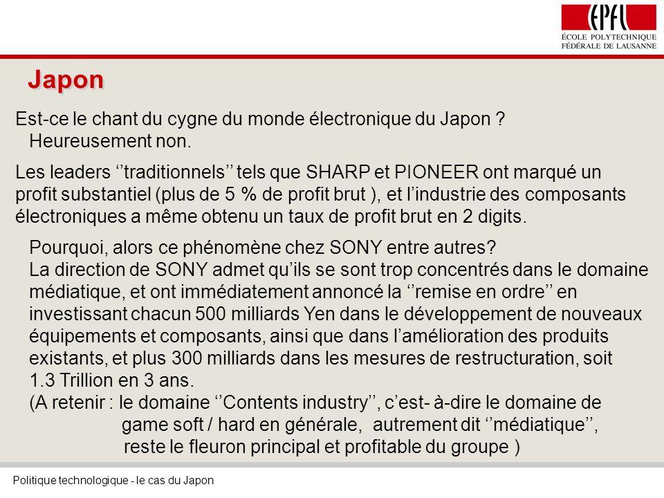Politique technologique - le cas du Japon Japon Est-ce le chant du cygne du monde électronique du Japon .