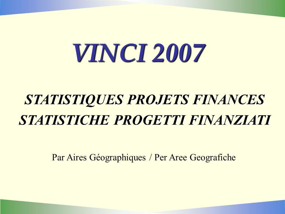 VINCI 2007 STATISTIQUES PROJETS FINANCES STATISTICHE PROGETTI FINANZIATI Par Aires Géographiques / Per Aree Geografiche