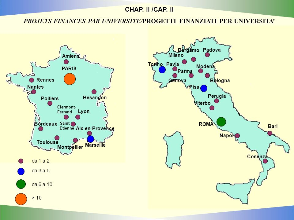 PARIS Lyon Clermont- Ferrand Aix-en-Provence Amiens Besançon Montpellier Nantes Poitiers Rennes Toulouse da 1 a 2 da 3 a 5 da 6 a 10 > 10 Bordeaux Marseille Saint- Etienne CHAP.