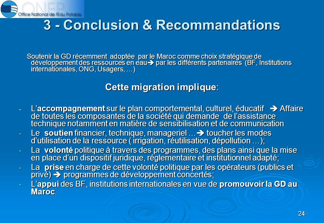 24 3 - Conclusion & Recommandations Soutenir la GD récemment adoptée par le Maroc comme choix stratégique de développement des ressources en eau par les différents partenaires (BF, Institutions internationales, ONG, Usagers, …) Soutenir la GD récemment adoptée par le Maroc comme choix stratégique de développement des ressources en eau par les différents partenaires (BF, Institutions internationales, ONG, Usagers, …) Cette migration implique: - Laccompagnement sur le plan comportemental, culturel, éducatif Affaire de toutes les composantes de la société qui demande de lassistance technique notamment en matière de sensibilisation et de communication - Le soutien financier, technique, manageriel … toucher les modes dutilisation de la ressource ( irrigation, réutilisation, dépollution …); - La volonté politique à travers des programmes, des plans ainsi que la mise en place dun dispositif juridique, réglementaire et institutionnel adapté; - La prise en charge de cette volonté politique par les opérateurs (publics et privé) programmes de développement concertés; - Lappui des BF, institutions internationales en vue de promouvoir la GD au Maroc.
