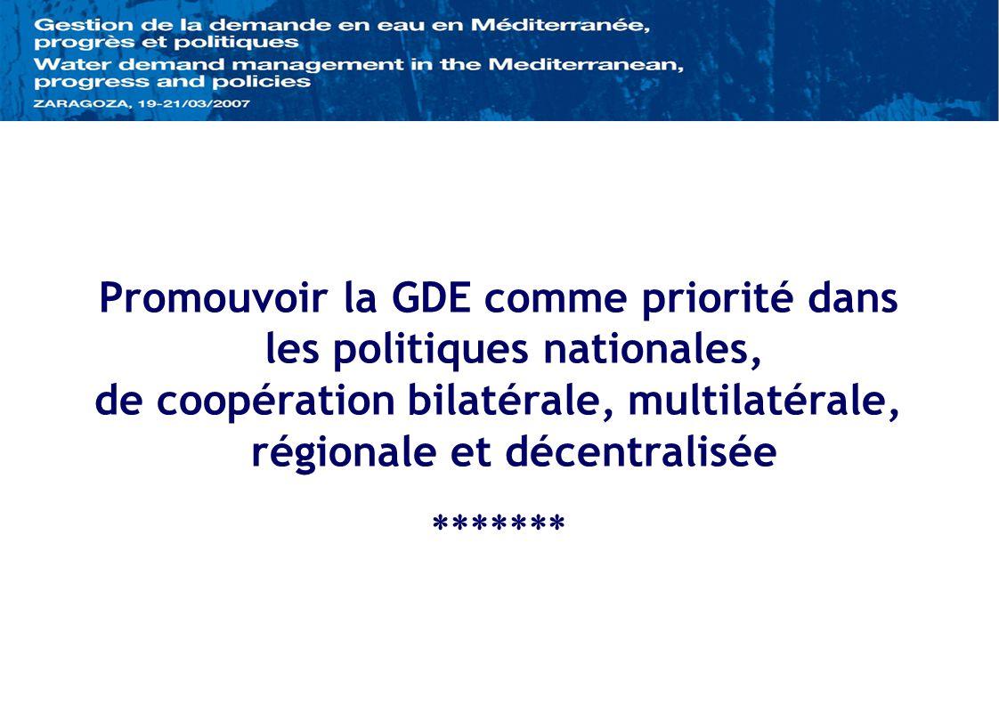 Promouvoir la GDE comme priorité dans les politiques nationales, de coopération bilatérale, multilatérale, régionale et décentralisée