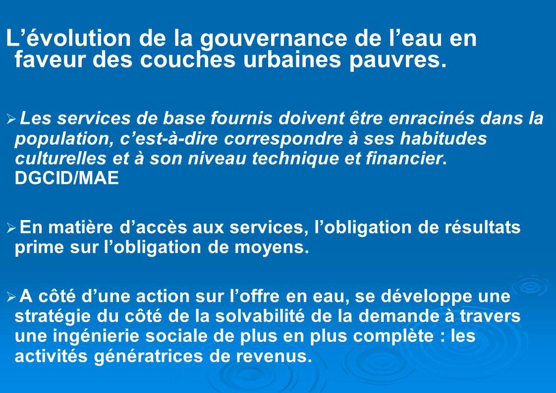 Lévolution de la gouvernance de leau en faveur des couches urbaines pauvres. Les services de base fournis doivent être enracinés dans la population, c