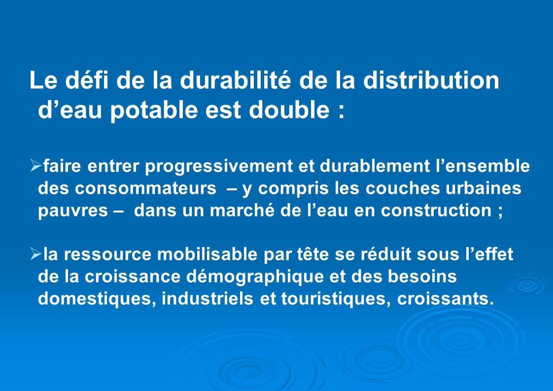 Le défi de la durabilité de la distribution deau potable est double : faire entrer progressivement et durablement lensemble des consommateurs – y comp