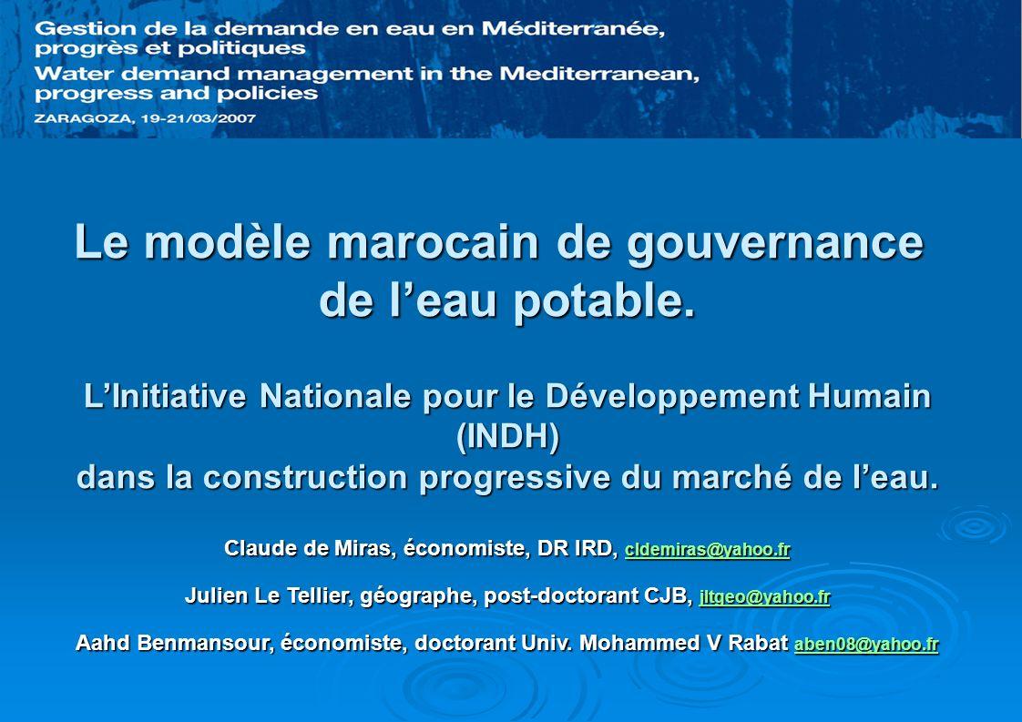 Depuis une décennie, le Maroc présente trois étapes en matière de gouvernance de leau urbaine : 1956 – 1997 : Monopole des régies municipales pour la distribution de leau potable dans les grandes villes marocaines ; 1997 – 2003 : Délégation de service public (Casablanca, 1997 ; Rabat, 1998 puis 2002 ; et Tanger Tétouan, 2002) et réforme progressive des régies.