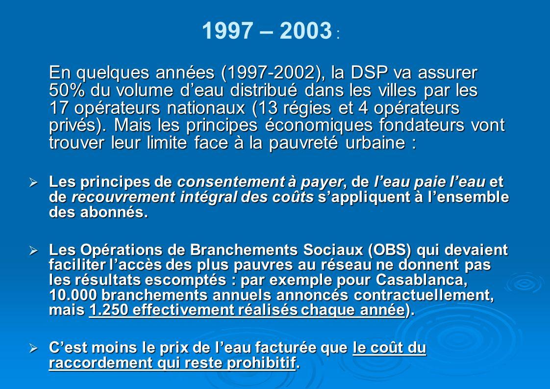 1997 – 2003 : En quelques années (1997-2002), la DSP va assurer 50% du volume deau distribué dans les villes par les 17 opérateurs nationaux (13 régie