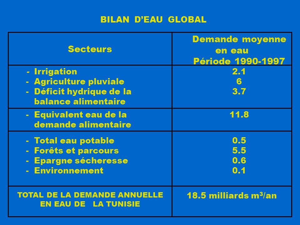 18.5 milliards m 3 /an TOTAL DE LA DEMANDE ANNUELLE EN EAU DE LA TUNISIE 0.5 5.5 0.6 0.1 - Total eau potable - Forêts et parcours - Epargne sécheresse