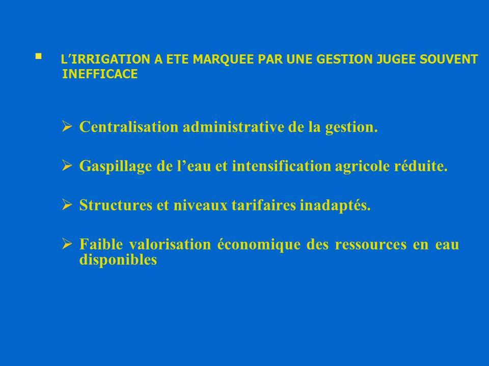 LIRRIGATION A ETE MARQUEE PAR UNE GESTION JUGEE SOUVENT INEFFICACE Centralisation administrative de la gestion. Gaspillage de leau et intensification