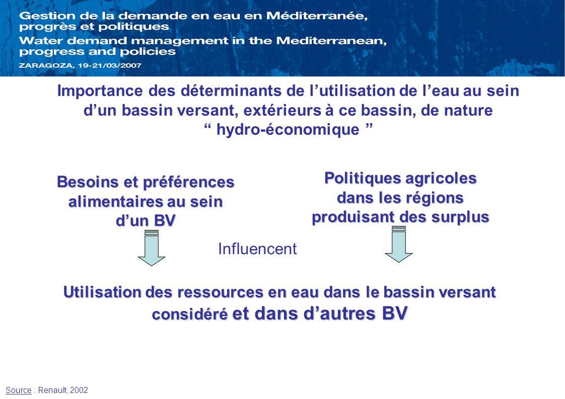 Utilisation des ressources en eau dans le bassin versant considéré et dans dautres BV Besoins et préférences alimentaires au sein dun BV Politiques ag