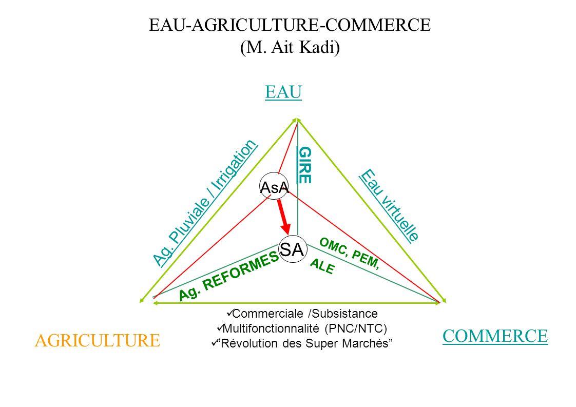 EAU-AGRICULTURE-COMMERCE (M. Ait Kadi) EAU AGRICULTURE COMMERCE AsA SA Ag. Pluviale / Irrigation Eau virtuelle Commerciale /Subsistance Multifonctionn