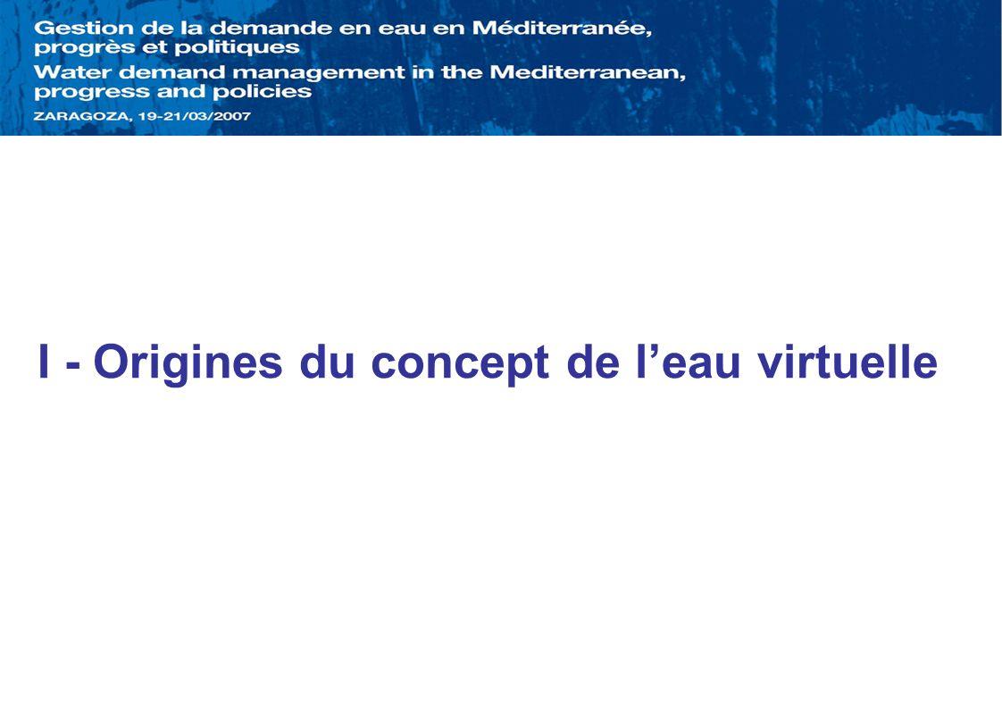 I - Origines du concept de leau virtuelle