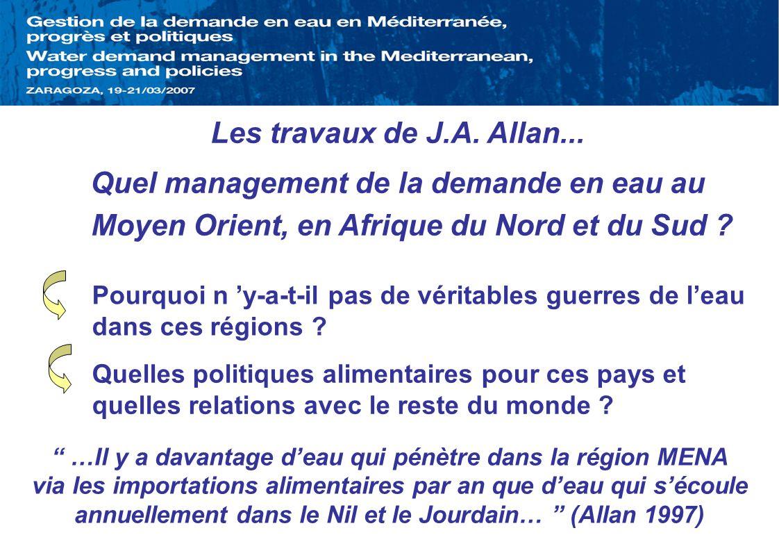 Les travaux de J.A. Allan... Quel management de la demande en eau au Moyen Orient, en Afrique du Nord et du Sud ? Pourquoi n y-a-t-il pas de véritable